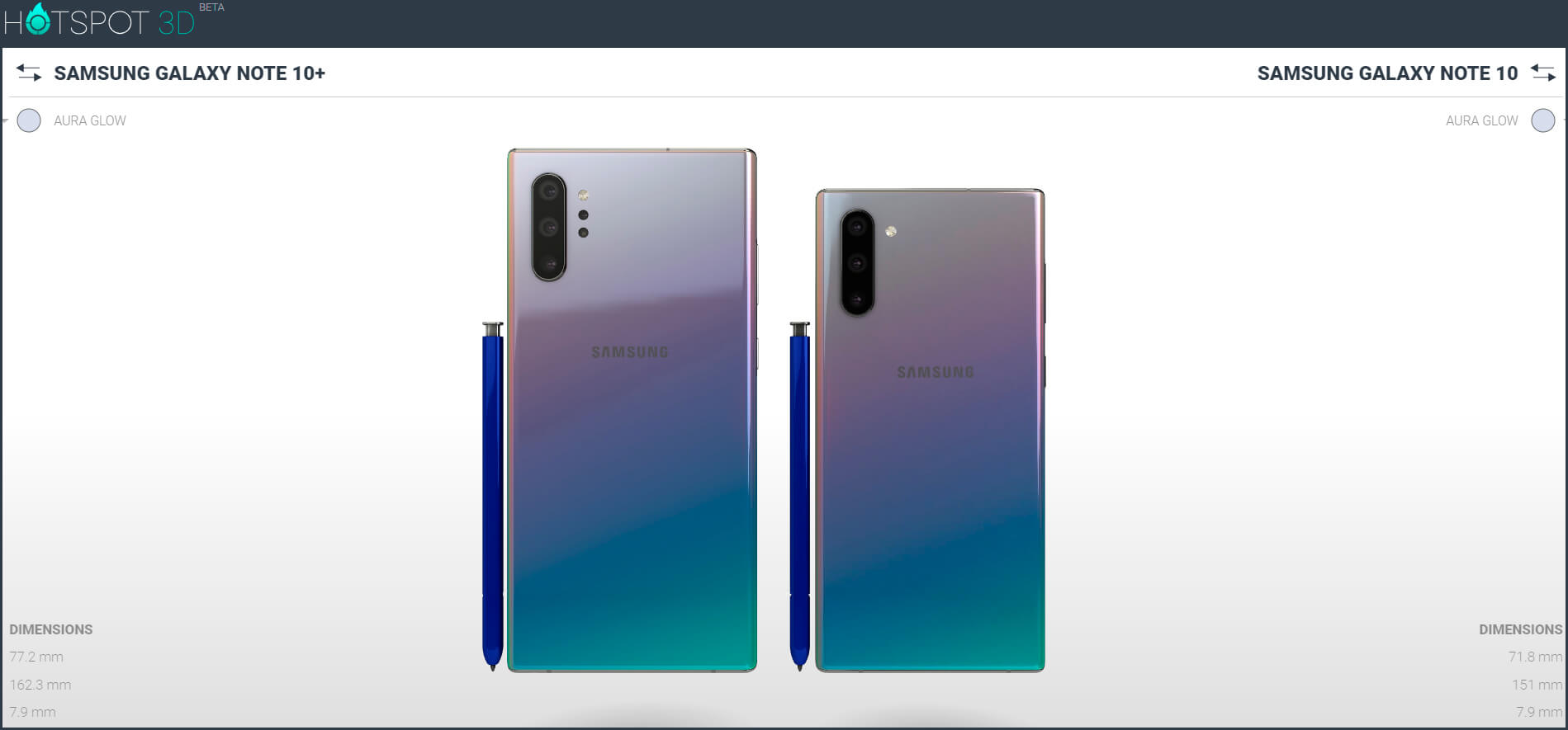 So you can compare the size of the Galaxy Note  10 with your competition 2