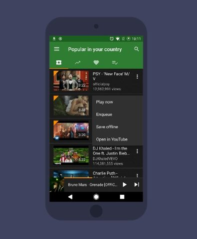 YMusic application interface for Android