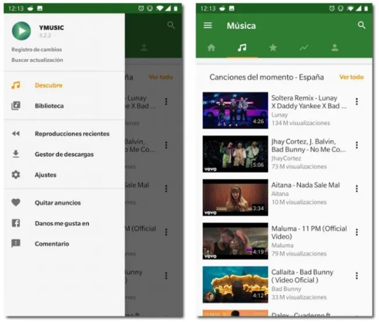 Use of the YMusic Android application that replaces YouTube