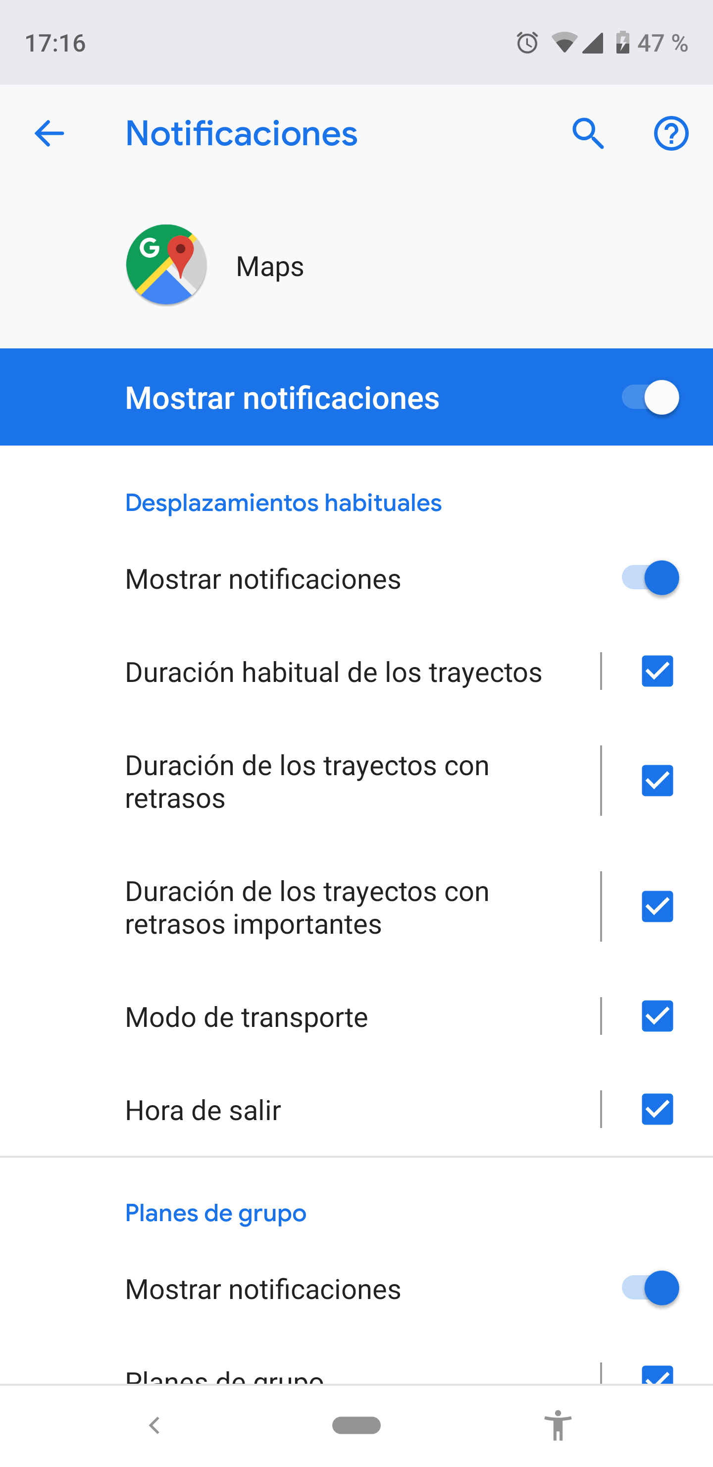 Android notification settings for applications