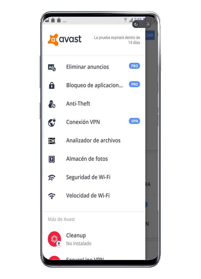 side menu in Avast Free Mobile Security