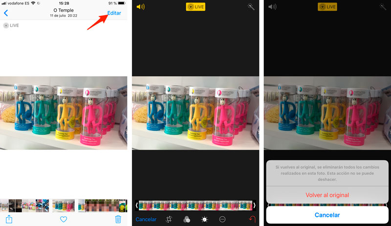 How to return to the original of a photo on iPhone