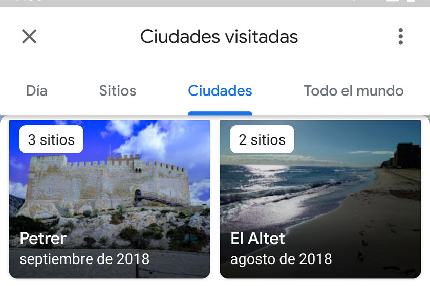 This is the new Google Maps Timeline: now with lists of sites, cities and countries visited