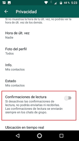 disable read confirmation