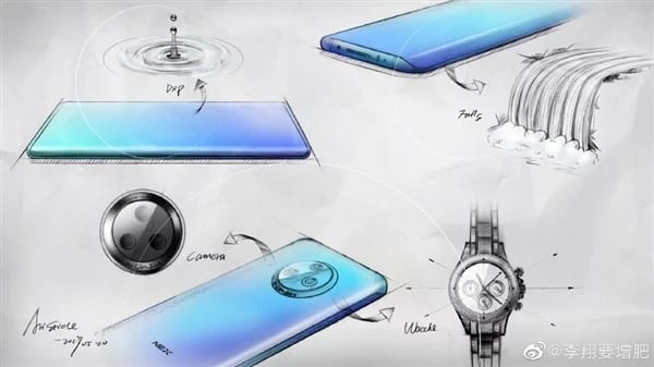 Sketch of Vivo Nex 3 with curved screen and triple camera
