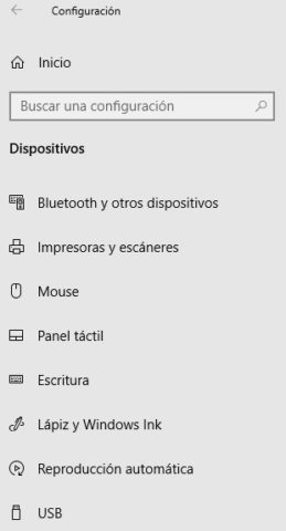 Device options in Windows 10