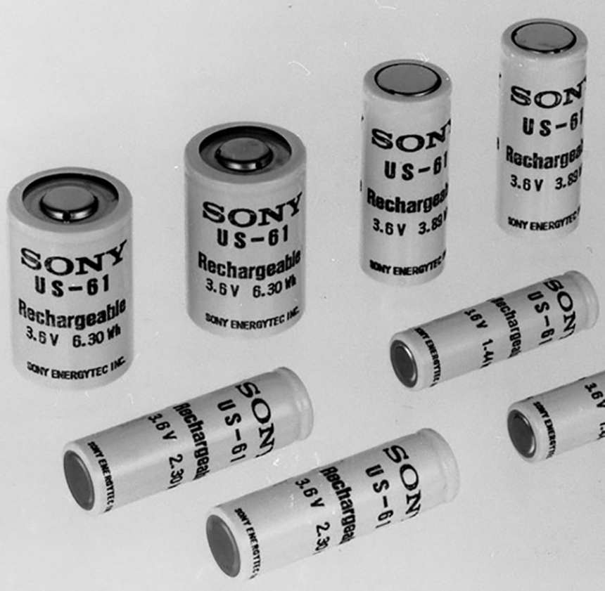 Sony's first commercial lithium-ion battery