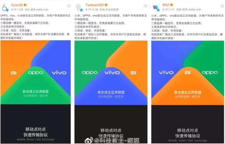 Xiaomi, Vivo and Oppo join forces: Transfer files without the need for a third-party application 1