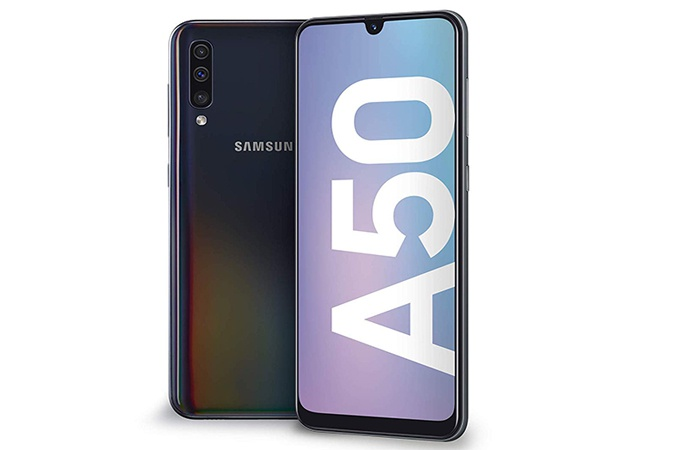 Samsung front and back Galaxy A50
