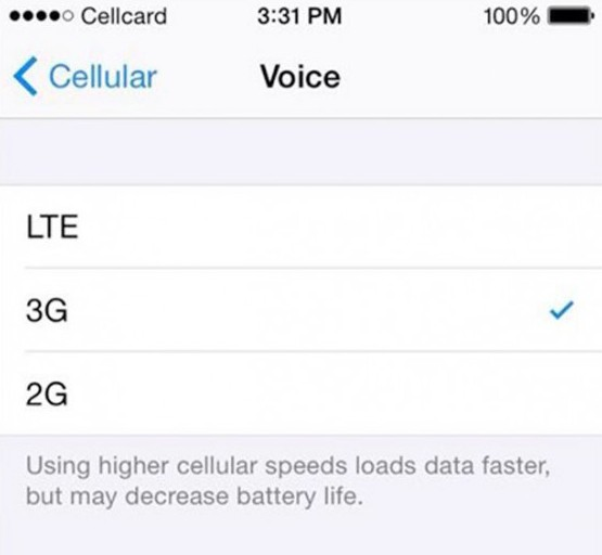 iOS 8.1 will allow you to individually enable and disable the LTE and 3G network 3