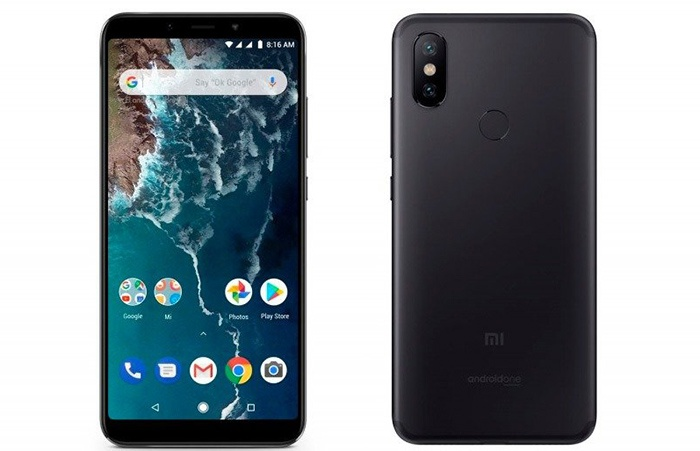 Front and back in black of the Xiaomi Mi A2