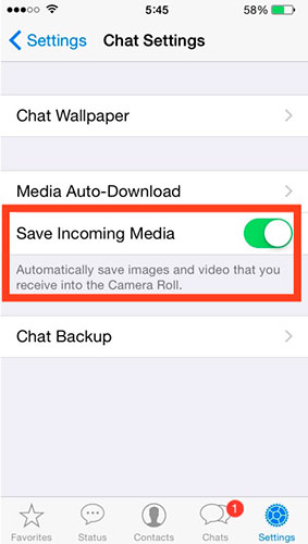 Disable WhatsApp automatic saving of photos, videos and multimedia files 5