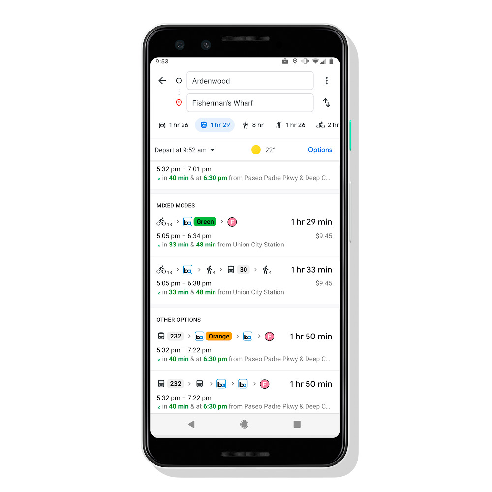 Google Maps combines different transports to give you the best route