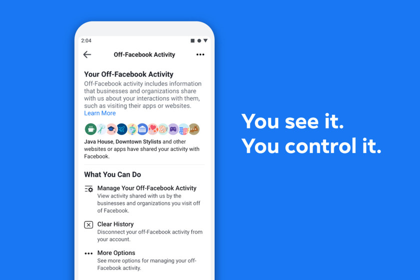 Now you can see and control the personal data that applications and websites you use share with Facebook