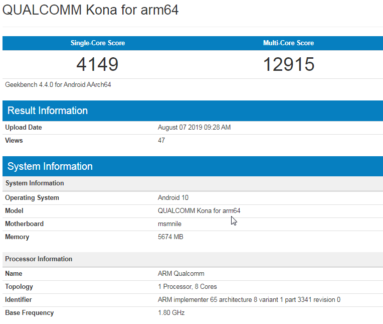Qualcomm Snapdragon 865 set a record in Geekbench