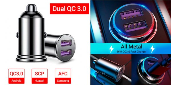 Review of a very cheap Fivi car charger for 2 USB ports with QC 3.0 support