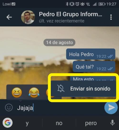 """Image - Telegram allows you to send messages """"Without sound"""""""