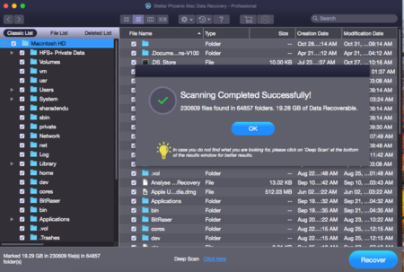 Stellar Phoenix Mac Data Recovery Scan Completed