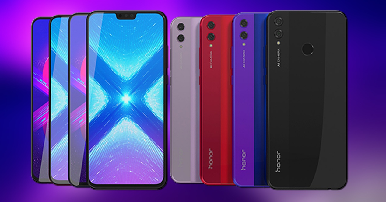 Front and back of the Honor 8X in black, blue, red and purple colors