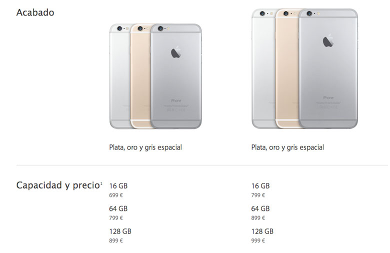 Official prices iPhone 6 and iPhone 6 Plus free in Spain 3