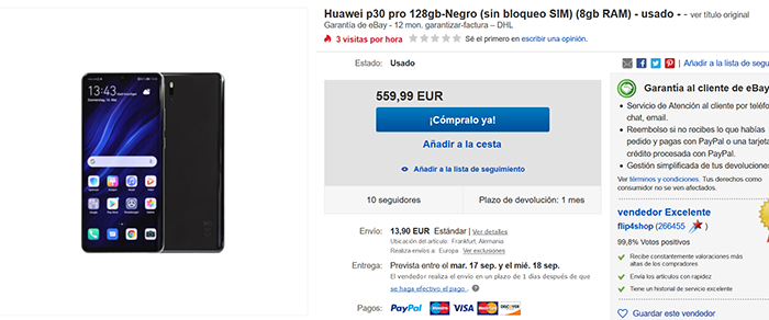Huawei P30 Pro announcement on Ebay