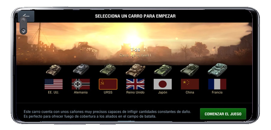 Tank selection in World of Tanks Blitz MMO