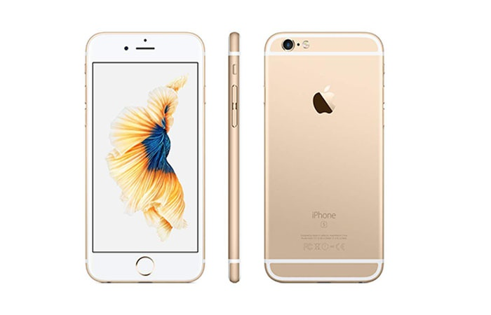 Front and back of the iPhone 6s in gold color