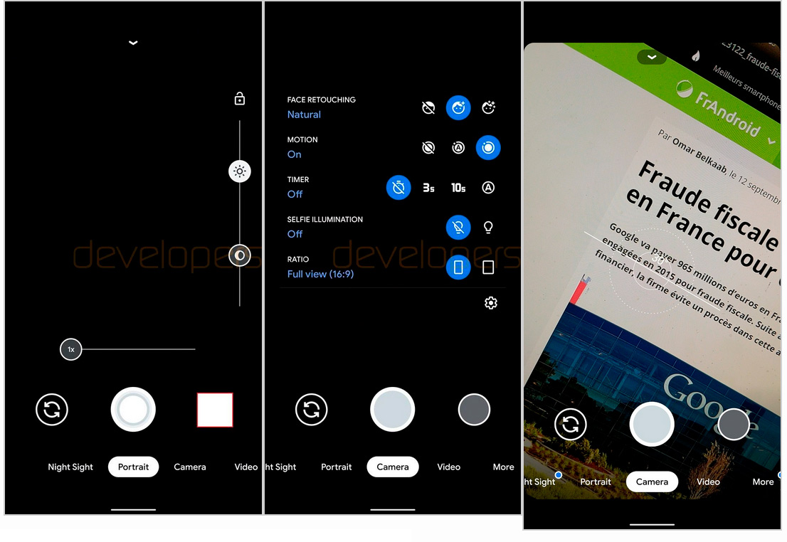 This is the new Pixel 4 camera application, Google Camera 7.0 1