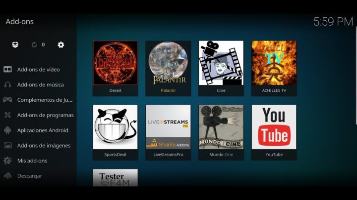 List of Addons in Kodi