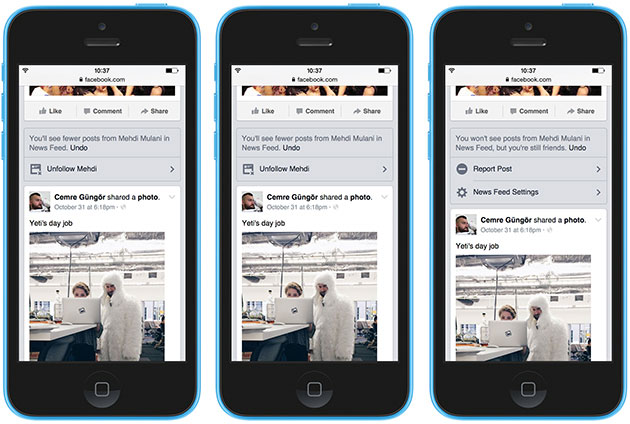 In Facebook Now it is easier to hide articles from friends 3