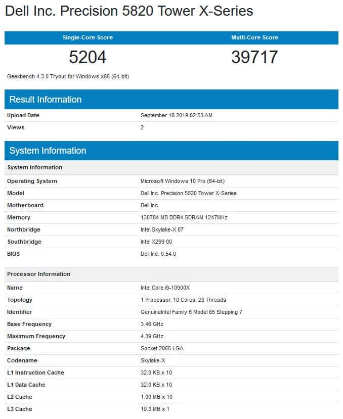 First benchmarks of the Intel Core i9-10900X hit the Internet! 1