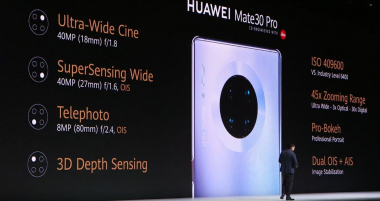 The camera specs of the Huawei Mate 30 Pro (press conference on 19.09.19 in Munich) | (c) Areamobile