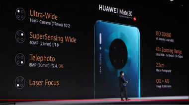 The camera specs of the Huawei Mate 30 (press conference on 19.09.19 in Munich) | (c) Areamobile