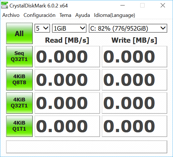 Read and write speed with CrystalDiskMark 31