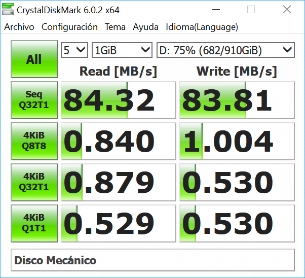 Read and write speed with CrystalDiskMark 34