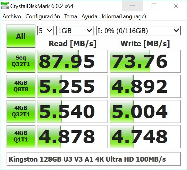 Read and write speed with CrystalDiskMark 51