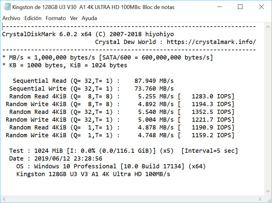 Read and write speed with CrystalDiskMark 52