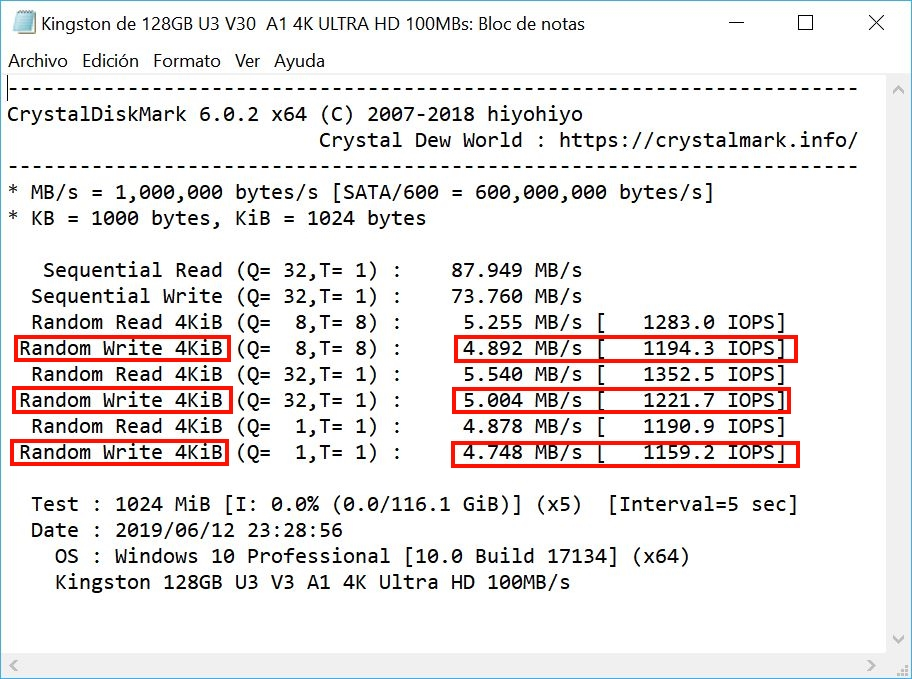 Read and write speed with CrystalDiskMark 53