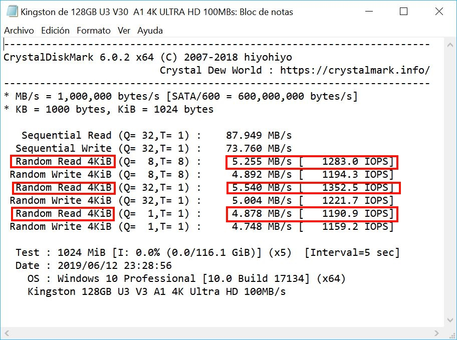 Read and write speed with CrystalDiskMark 54