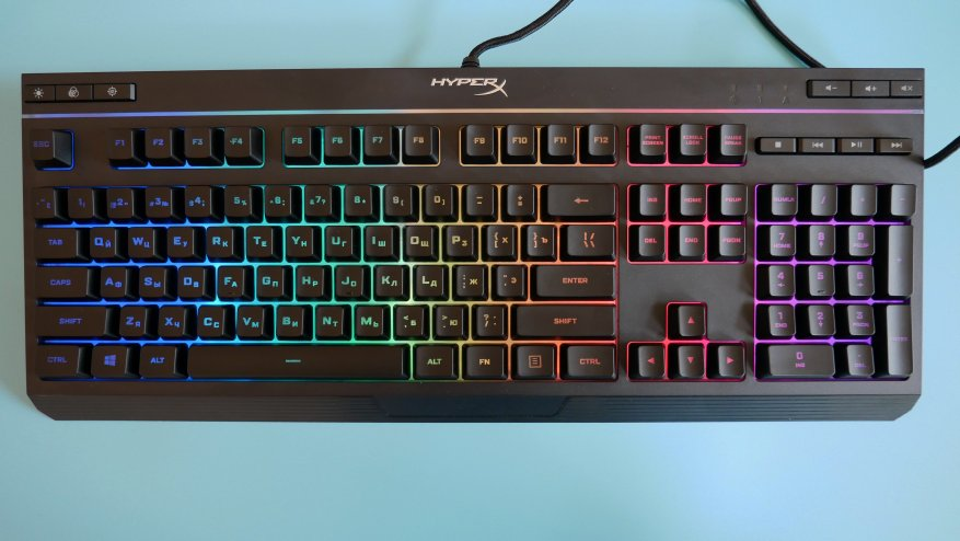 Overview of the first HyperX Alloy Core RGB gaming membrane keyboard 30
