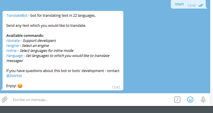 Image - How to use Telegram to translate in several languages