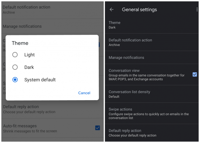 Google: Dark Fashion for Gmail in Android is delivered