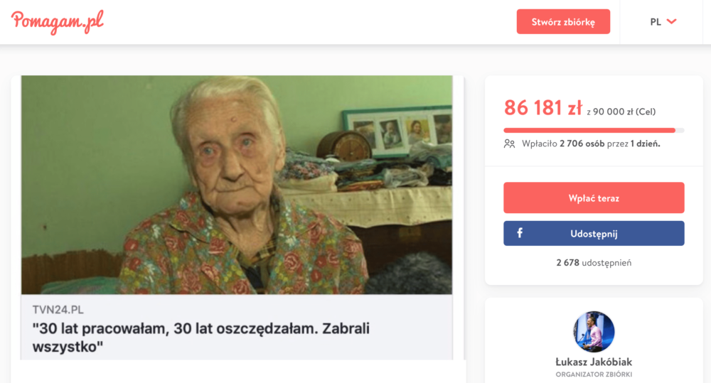 Life savings (PLN 4,000) were stolen from a 99-year-old. Internet users collected for her 535,000 zł!