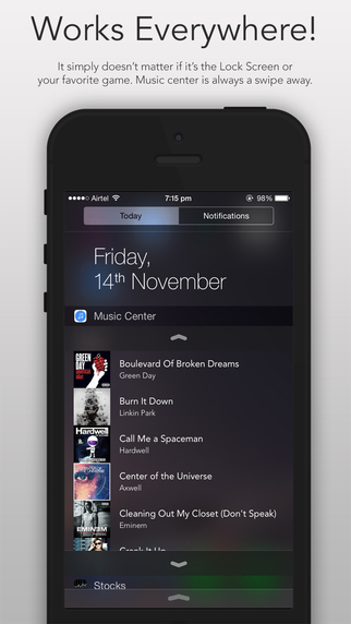 Music Center, the Widget to control Music from the iOS 8 Notifications Center 3