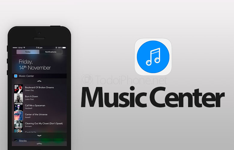 Music Center, the Widget to control Music from the iOS 8 Notifications Center 2