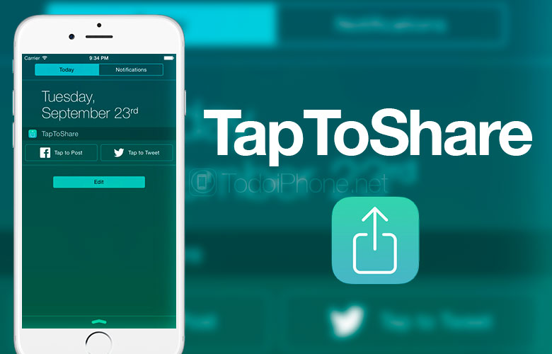Share on Twitter and Facebook with the Widget for iOS 8, TapToShare 3