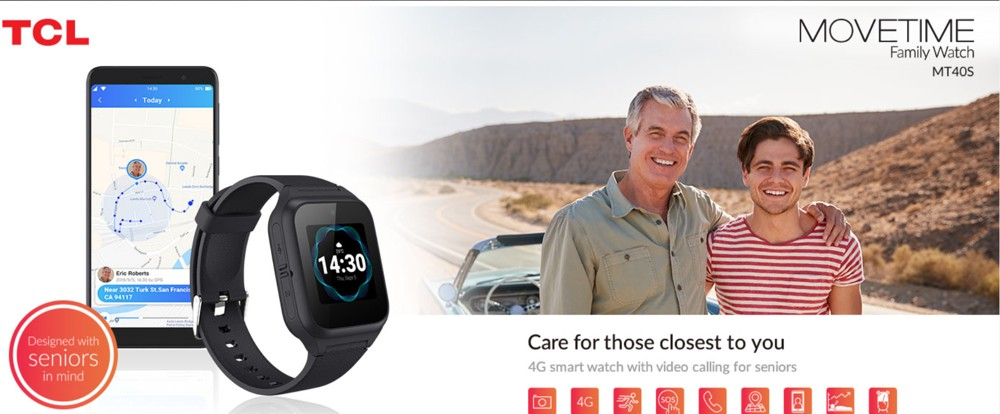 TCL MOVETIME Family Watch MT40S, smart watch with video calls for seniors