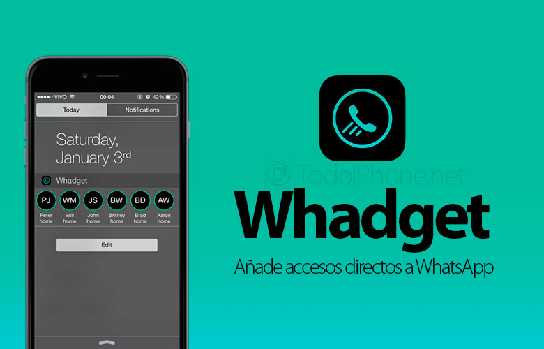 Whadget, the widget that adds WhatsApp shortcuts to the iPhone 2