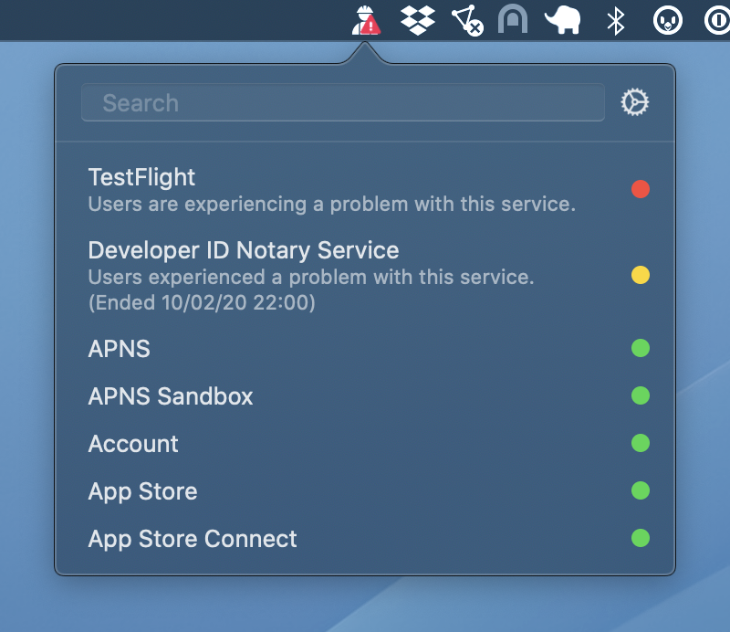 Quickly check the status of developer and consumer services for Apple with...