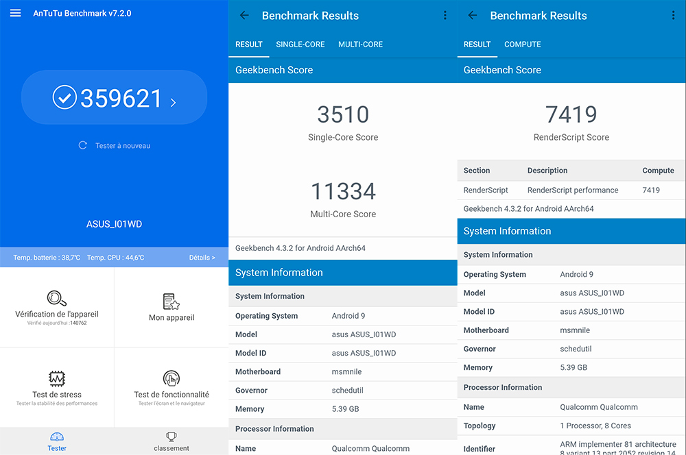 Benchmarks of Asus ZenFone 6